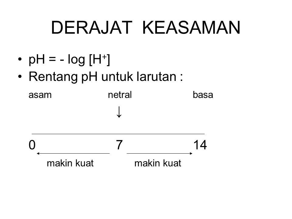 DERAJAT KEASAMAN pH = - log [H+] Rentang pH untuk larutan :